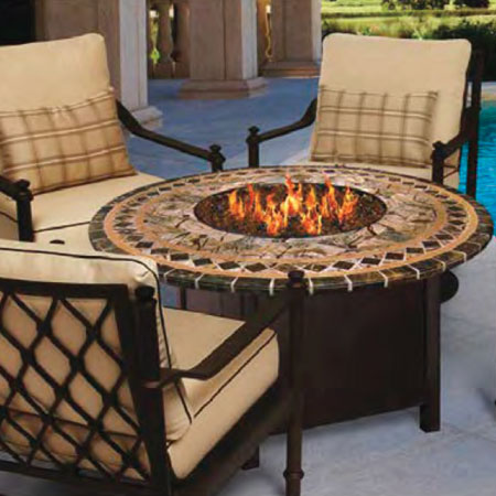 Custom Wood Fire Pit with Chairs by the Pool